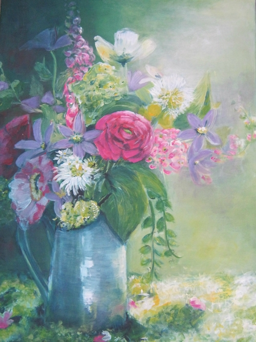 Vaas bloemen /70x100/ €150.