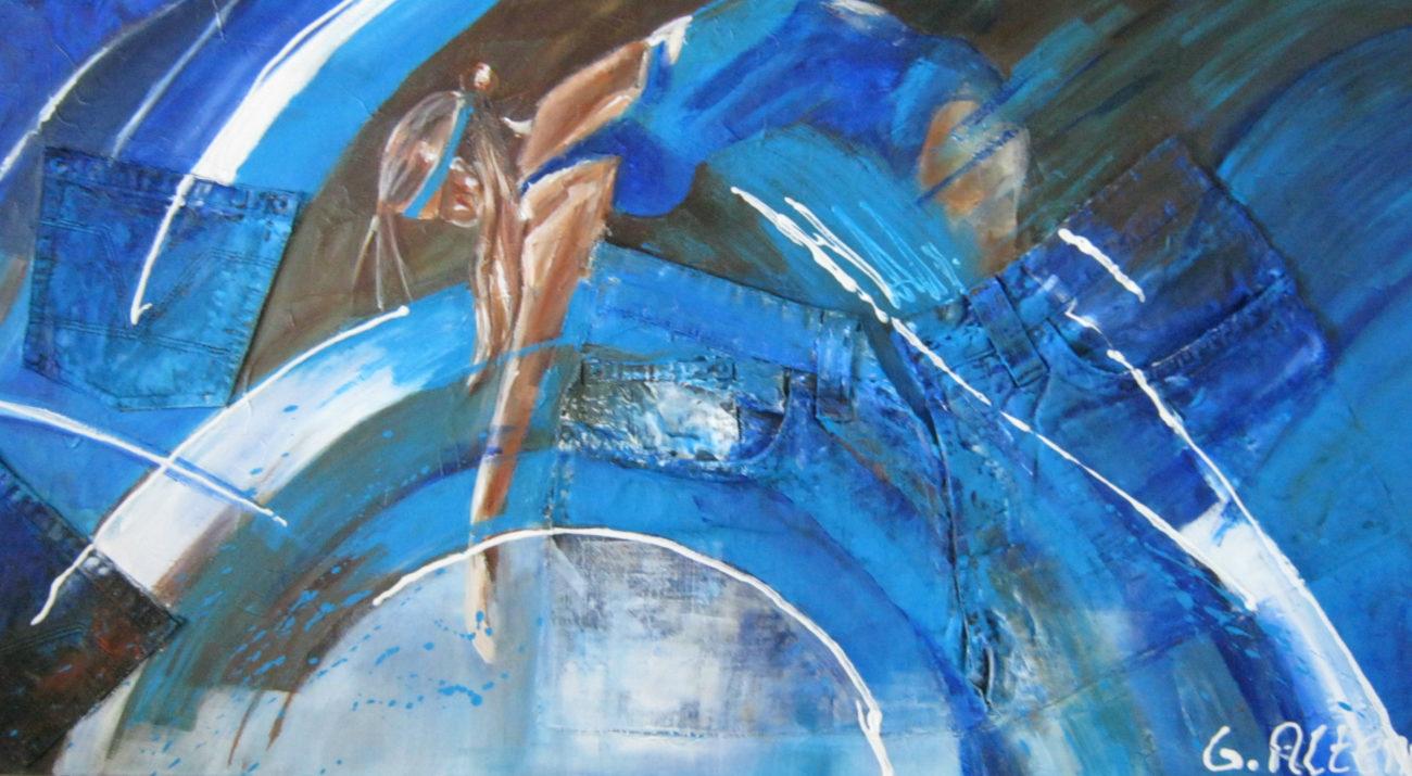 Vrouw in blauw /50x100cm/ €170.