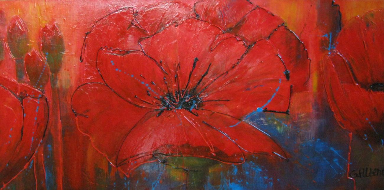 Rode bloemen /60x120cm / €170.