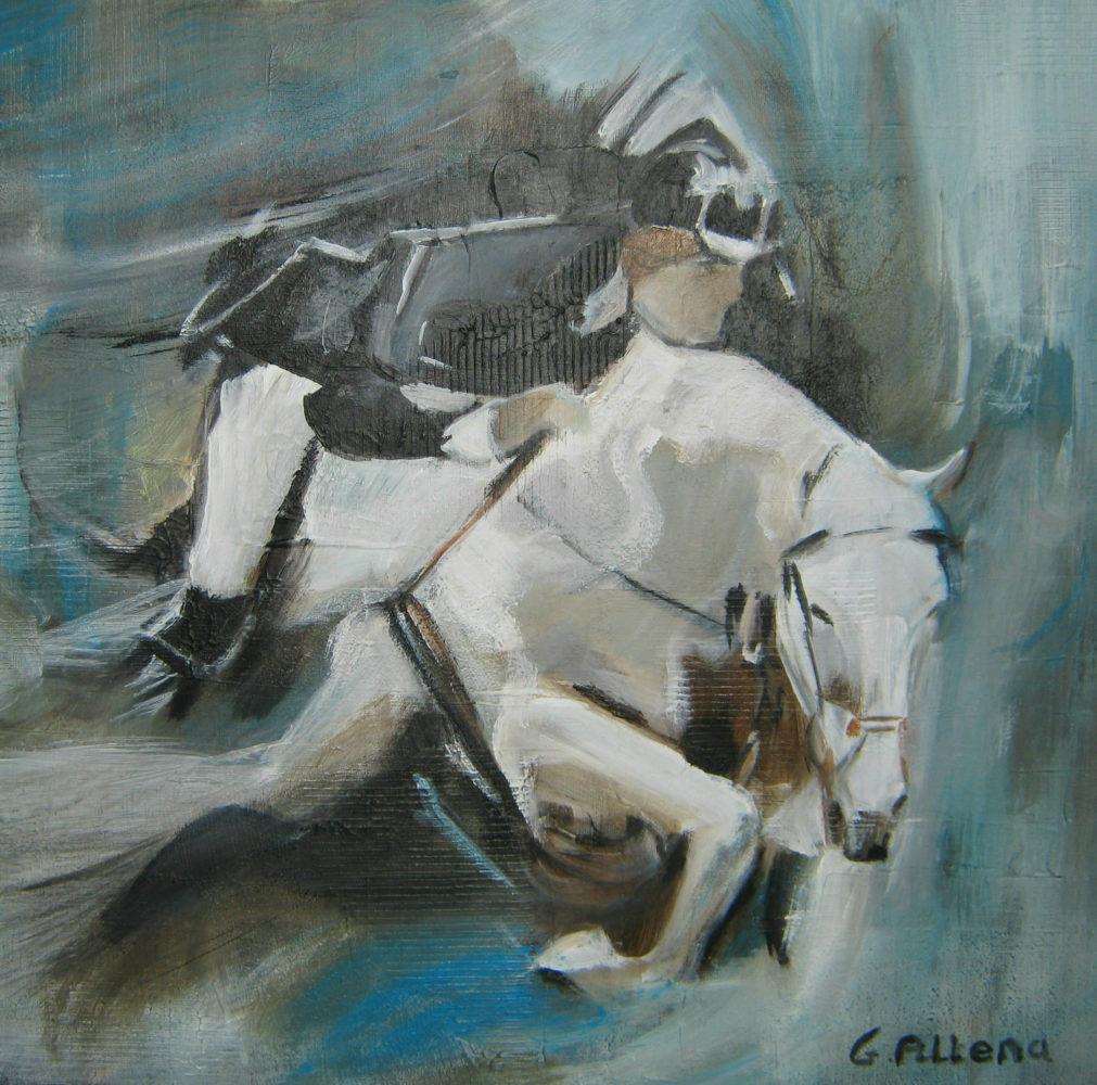 ruiter op paard /50x50cm/ €110.